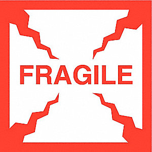 "Shipping Labels, Fragile Legend, Paper, Adhesive Back, 4"" Width, 4"" Height"