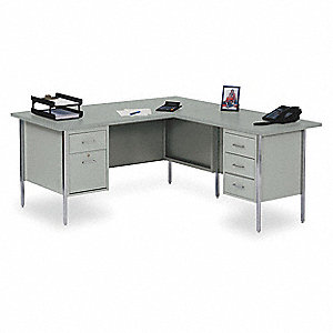 L-Shape Desk,42 x 29 x 66 In,Gray