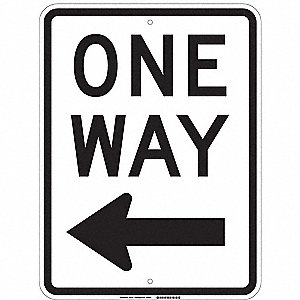 "Text and Symbol One Way, Engineer Grade Aluminum Traffic Sign, Height 24"", Width 18"""