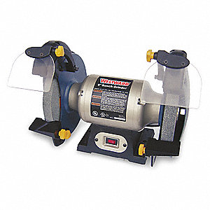 1/2 HP Bench Grinder, 120 Voltage, 1 Phase, 3.0 Amps, 8'' Wheel Dia.