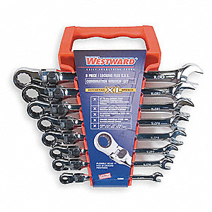 Ratcheting Wrench Set, Combination, Locking Flexible, SAE, Number of Pieces: 8