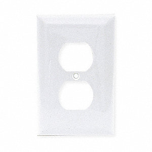 Duplex Receptacle Wall Plate, White, Number of Gangs: 1, Weather Resistant: No