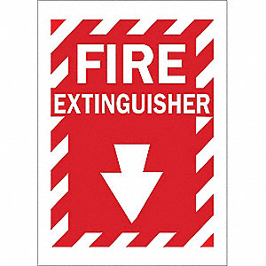 Fire Extinguisher Sign,14 x 10In,WHT/R