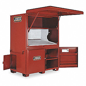 "Brown Jobsite Field Office, Width: 63-1/2"", Depth: 42-1/2"", Height: 80, Storage Capacity: 104 cu. ft"