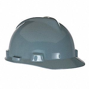 Hard Hat,FrtBrim,Slotted,4Rtcht,Gray
