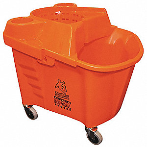 Orange Polypropylene Mop Bucket and Wringer, 35 qt.