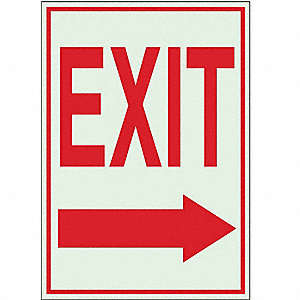 Exit Sign,10 x 7In,R/WHT,Exit,ENG,SURF