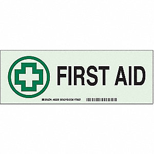 First Aid Sign,3-1/2 x 10In,GRN/WHT,ENG