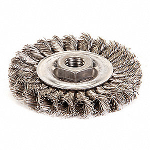 "Threaded Arbor Wire Wheel Brush, Knot Wire, 4"" Brush Dia."