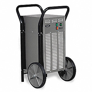 "Industrial Portable Dehumidifier, 115V, 5.9 Amps, Height 36-5/8"", Width 21-7/8"", Depth 23-7/8"""
