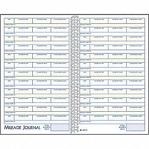 Vehicle Mileage/Expense Record,32 Sheets