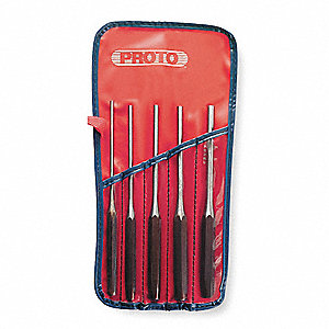 Drive Pin Punch Set,5 Pieces,S2 Steel