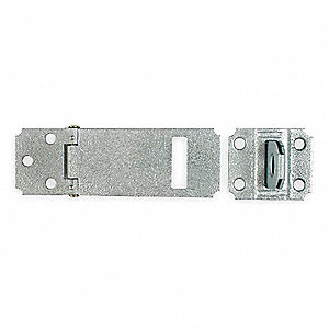"Safety Adjustable Staple Hasp, 3-1/2"" Length, Steel, Galvanized Finish"