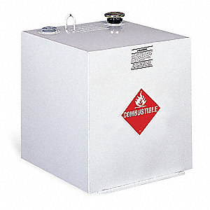 White Square Liquid Transfer Tank, 50 gal. Capacity, 14 Gauge Steel