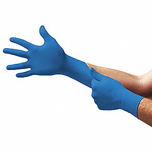 "Blues Disposable Gloves, Nitrile, Powder Free, L, 5 mil Palm Thickness, 9-1/2"" Length"