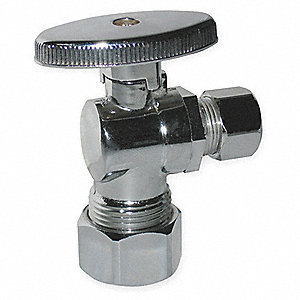 Chrome Plated Quarter-Turn Supply Stop, Compression Inlet Type, 125 psi