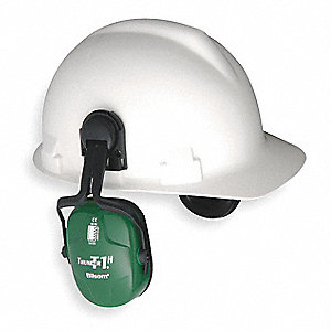 Green Cap-Mounted Ear Muff, Noise Reduction Rating NRR: 23dB, Dielectric: Yes