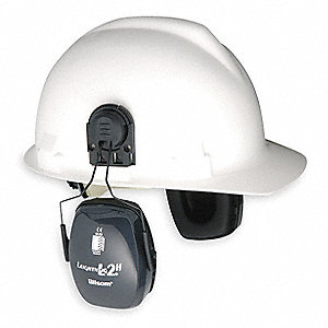 Gray Cap-Mounted Ear Muff, Noise Reduction Rating NRR: 25dB, Dielectric: No