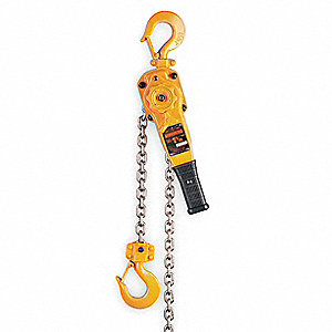 "Lever Chain Hoist, 2000 lb. Load Capacity, 10 ft. Lift, 1-1/8"" Hook Opening"