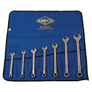 Nonsparking, Nonmagnetic, SAE Combination Wrench Set, Number of Pieces: 7, Number of Points: 12