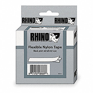 "Black/White Polyester Label Tape Cartridge, Indoor/Outdoor Label Type, 18 ft. Length, 3/8"" Width"