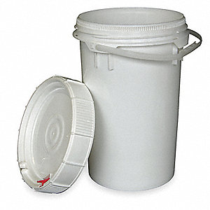 Plastic Pail,White,Cap 6.5 Gal,With Lid