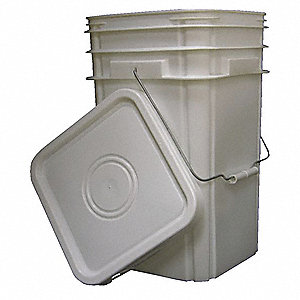 Plastic Pail,White,Cap 5 Gal,With Lid