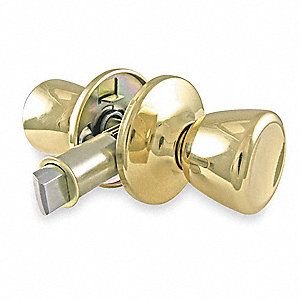 Passage Knob Lockset, Polished Brass Finish, Light Duty