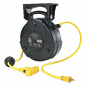 Black Retractable Cord Reel, 15 Max. Amps, Cord Ending: Outlet Box, 40 ft. Cord Length