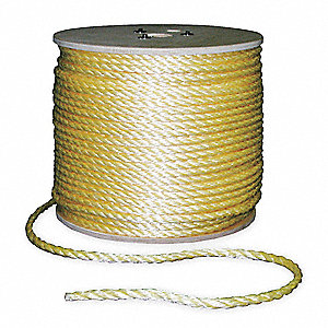 "Polypropylene Rope, 3/8"" Rope Dia., 1200 ft. Length, Yellow"