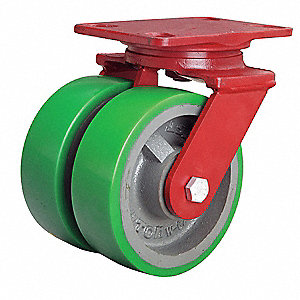 "6"" Dual Wheel Caster, 2000 lb. Load Rating, Wheel Width 2"", Polyurethane"