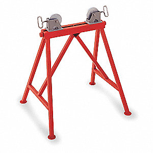 "Roller Head Pipe Stand, 2 to 36"" Pipe Capacity, 34"" Overall Height, 2500 lb. Load Capacity"