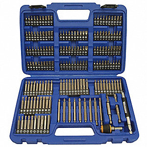 Screwdriver Bit Set,1/4 Hex Dr,175 Pc