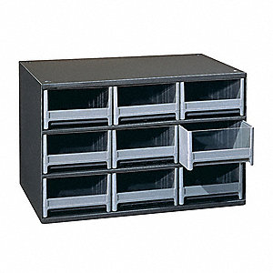 "Drawer Bin Cabinet, 11"" Overall Height, 17"" Overall Width, Number of Drawers or Bins 9"