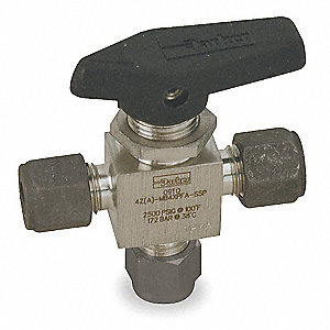 SS Ball Valve,3-Way,Comp.,1/8 In