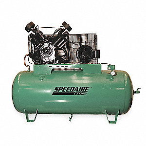 15 HP,  120 gal. Horizontal Pressure Lubricated Tank Mounted Electric Air Compressor, CFM: 49.0