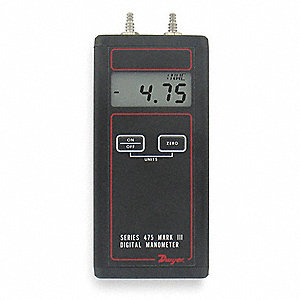 Handheld Manometer,0 to 200.0 In WC
