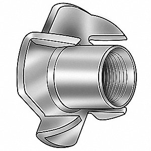 T-Nut, 1/4-20 Internal Thread Size, Number of Prongs: 4