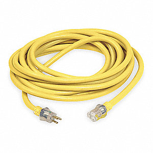 Indoor/Outdoor Lighted Extension Cord, 25 ft. Cord Length, 10/3 Gauge/Conductor, 15 Max. Amps