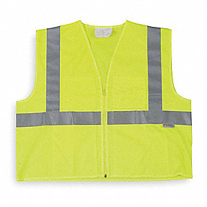 Lime High Visibility Vest, Size: XL, 2 ANSI Class, Zipper Closure Type