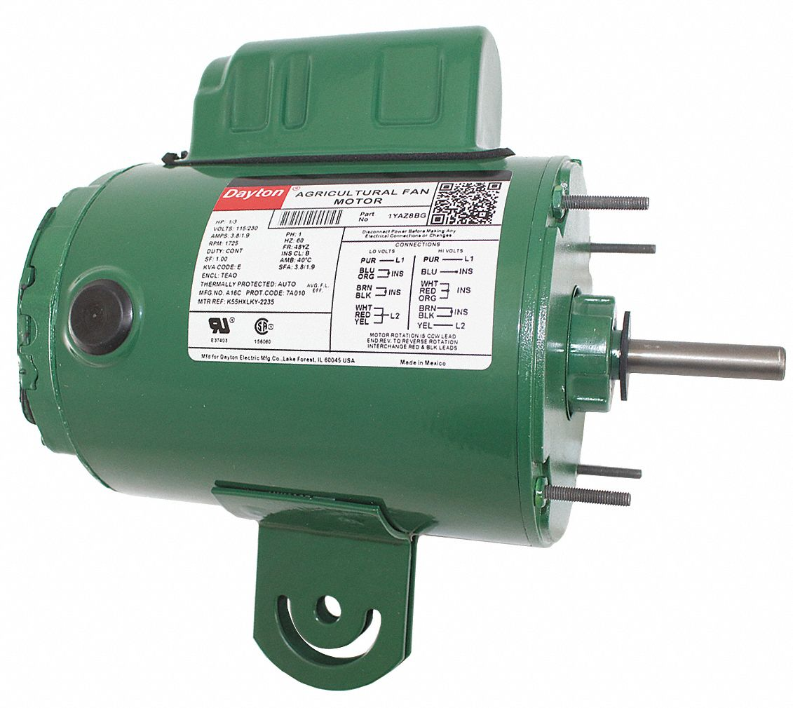 Dayton 1 3 hp agricultural fan motor permanent split for Best lubricant for electric fan motor