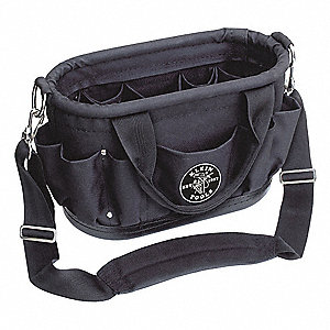 Canvas Tool Bag, General Purpose, Number of Pockets: 12, Black