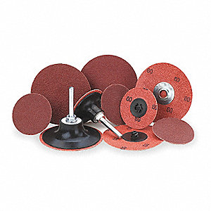 "2"" Locking Sanding Disc, Aluminum Oxide, TR, 36 Grit, Extra Coarse, Coated, PK25"