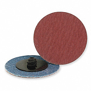 "3"" Locking Sanding Disc, Aluminum Oxide, TR, 36 Grit, Extra Coarse, Coated, AO/X, PK25"