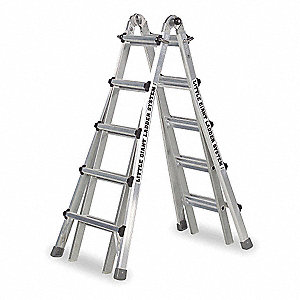 Aluminum Multipurpose Ladder, 11 to 19 ft. Extended Ladder Height, 375 lb. Load Capacity
