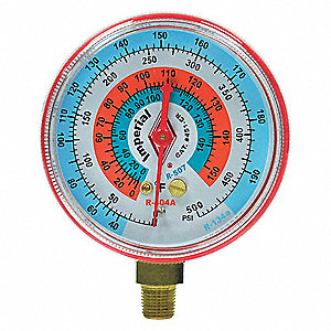 Gauge,2-1/2 In Dia,High Side,Red,500 psi