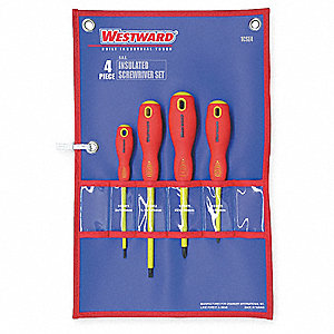 Assorted Insulated Screwdriver Set, Multicomponent, Number of Pieces: 4