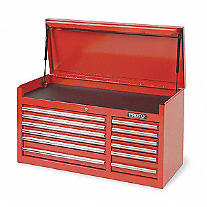 "Red Top Chest, 41"" Width x 18""  Depth x 19"" Height, Number of Drawers: 12"
