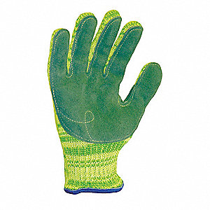 Leather, Cut Resistant Gloves, Dyneema® Lining, Yellow/Green, M, PR 1