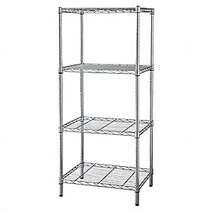 "Chrome Plated Wire Shelving Unit Starter, 63"" Height, 36"" Width, Number of Shelves 4"